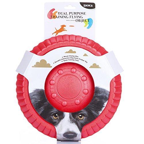 KA Hundespielzeug- Flying Disc EVA Schaum Material Floatable Tossing Spielzeug Hundeball für Welpen Kleine Mittlere & Große Hunde ø 22.5/ 26 cm Grün/ Blau/ Rot/ Lila (L, Rot) (Flying Disc Spielzeug)