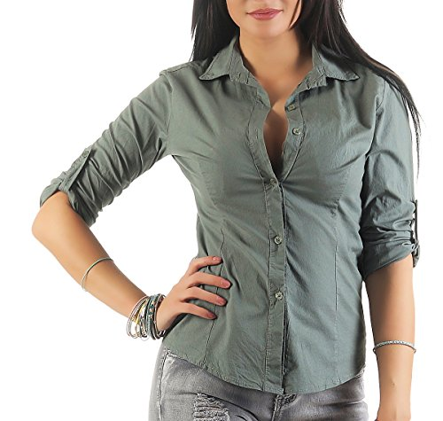 169 Mississhop Damen Klassische Hemdbluse Business Hemd Casual Bluse Oberteil Top Tunika T-Shirt Tailliert Unifarben Uni Oliv S (Wedding-shirt White)