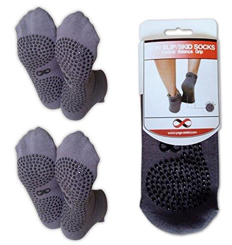 YogaAddict Rutschfeste Socken, für Krankenhauseinsatz, Reisen, Yoga oder Pilates Studio, Zuhause, verschiedene Farben, 2Paar, grau, L / XL - Yoga Männer Zehen-socken Mit Griffen