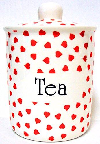 Love Hearts Boîte à thé en porcelaine Fine Boîte à thé-Cœurs rouges décoré à la main au Royaume-Uni, livraison gratuite UK