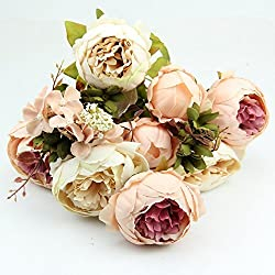 BALLERINA'S Peony Artificial Flower Bouquet (Height 50cm, Beige)