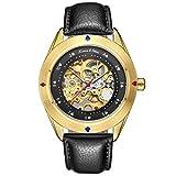 KS Reloj para hombres dorado, mecánico esqueleto automático, caja de acero inoxidable, correa de cuero nergo KS380