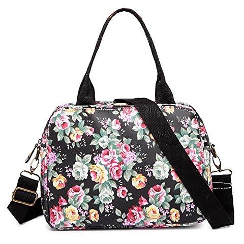 Miss LuLu Baby Wickeltasche Mama Tasche mit Blumen-Druck Mutter Shopping Handtasche Multifunktional Große Kapazität PVC-Beutel Wasserdicht (LG1657-Schwarz)