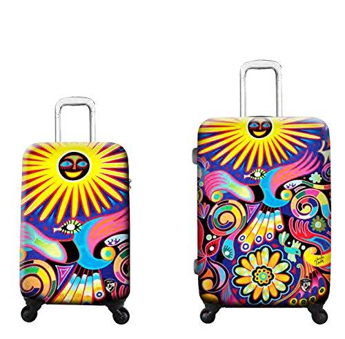 SCONTO SPECIALE - 800 € Sconto - PREMIUM DESIGNER Valigia Rigida set 2 pezzi - Heys Artisti Limon Under the Sun Trolley con 4 Ruote Media + Trolley con 4 Ruote Grande