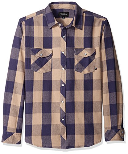 Tan Plaid Shirt (Brixton Pickford L/S Flannel - Tan/Plaid - L)