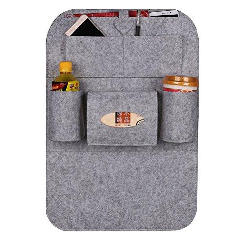 WINOMO Auto Sitz Organizer 1 PCS Rücksitz Tasche /Filz Rückenlehnenschutz für Auto (hellgrau)