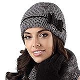Kamea Bolonia Dame Mütze Wintermütze Kopfbedeckung Elegant, Schwarz,Uni