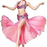 MoLiYanZi Belly Dance Performance Kostüm Dance Fairy Bead und Blumen für Frauen mit Pailletten Side Split-Volants fiel, Pink
