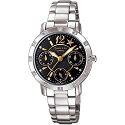 Casio SHN-3020D-1A - Reloj Colección Sheen para señoras, de acero inoxidable y cristales estrás