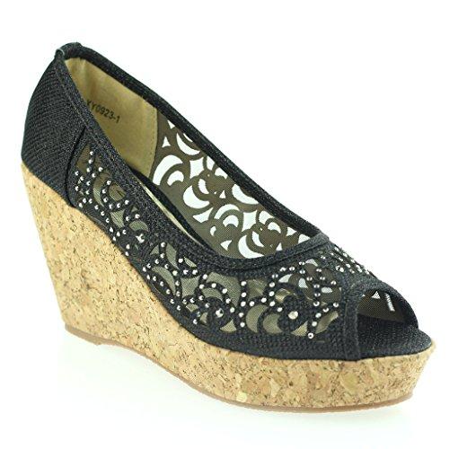 Femmes Dames soirée Peeptoe Diamante Talon Compensé Sandale Chaussures Taille Noir