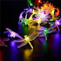 jhua luci 4,9m 20LED Libellula impermeabile luci stringa per alberi di Natale/Giardino/Patio/matrimonio/compleanno/partito/Paesaggio/Giardino/Casa/vacanza decorazioni (Multi Colore) - 2 Pulsante Di Alimentazione Finestra Interruttore