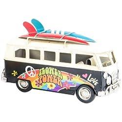 Furgoneta Surfera Hippie Flower Power VW Campervan (Negro)