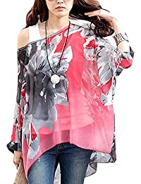 DJT Femme T-shirt en Mousseline de soie Manches 3/4 Chauve-souris en Fleur Cover up Ete