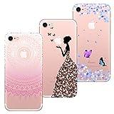 HopMore 3X Coques Coque iPhone 7 / iPhone 8 Transparente Motif Mandala Fleur Swag Silicone Souple Etui Antichoc Ultra Mince Fine Case Étui Housse Protection Swag pour Fille Femme - Design A