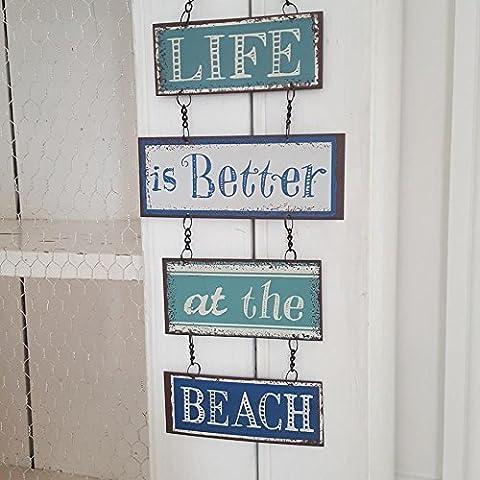 Plaque en métal design vintage à suspendre avec inscription Life Is Better At The Beach