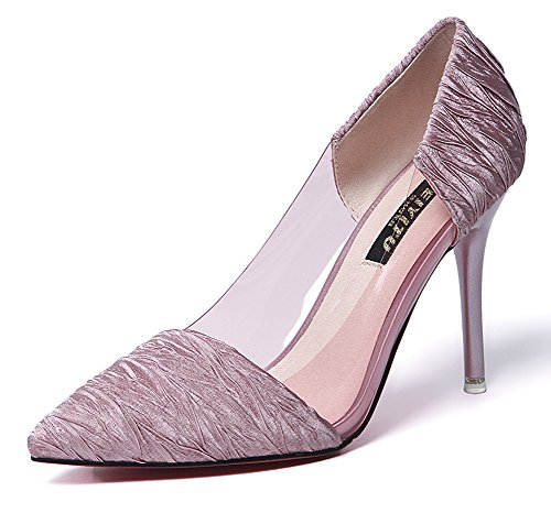 Aisun Damen Fashion Spitz Zehen High Heels Stiletto Transparent Pumps Hellblau 35 EU mteen