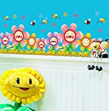 HCCY Sie können die Wand Aufkleber frische Topfpflanzen Aufkleber kleben das Schlafzimmer Wohnzimmer Ecke Glas Poster Pflanzen Blumen Aufkleber entfernen, Glück Blume