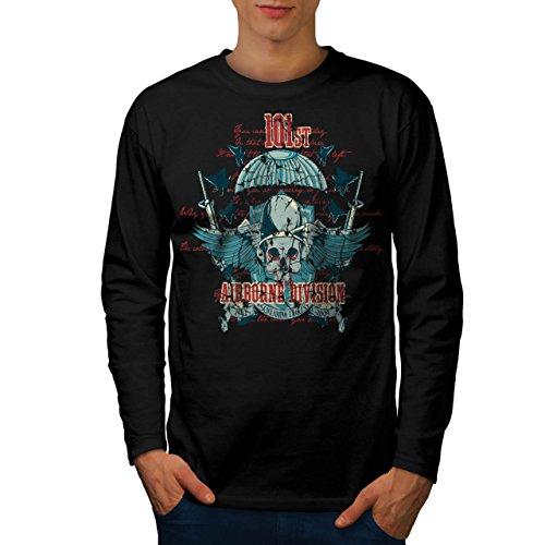 Airborne Aufteilung Schädel Krieg Flug Herren S Langarm-T-Shirt | Wellcoda (Airborne Dunklen T-shirt)