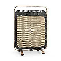Klarstein HeatPal Marble Blackline Infrared Heater with Thermostat - Mobile Heater, Stand Heater, 1300 W, Heats Rooms up to 30 m², Heat Storage, Marble Top for Heat Storage, Aluminium, Copper