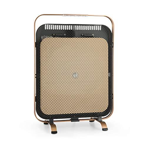 Klarstein HeatPal Marble Blackline radiador infrarrojo • Radiador portátil • Radiador Vertical • 1300 W • para Salas de 30 m² • Función para conservar el Calor • Placa de mármol • Aluminio • Cobre