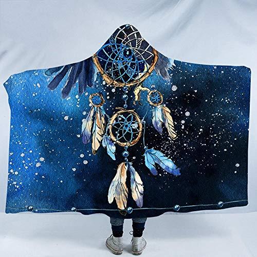 HGTZ Dreamcatcher Flanell Decke mit Kapuze Feder blau gedruckt Cobertor Boho tragbare Decke Weißkopfseeadler Tagesdecken -