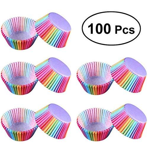 Prima05Sally 100 Teile/Satz Regenbogen Stil Papier Kuchen Formen Cupcake Liner Backen Muffin Box Cup Case Party Kuchen Dekoration Cupcake Papier