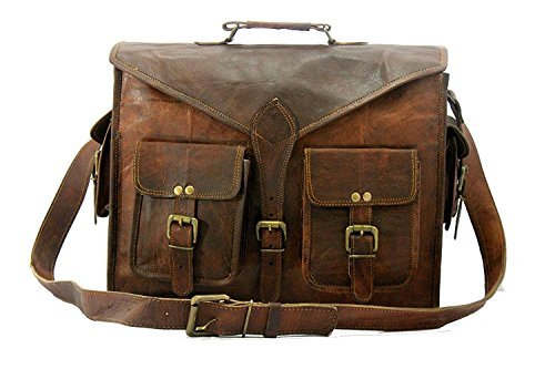 Handgefertigt Welt Genuine Messenger Bag Leder 45,7cm Laptop Taschen Computer, Aktentasche -