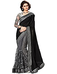 f7a3f6f53b235d Sunshine Fashion Women s Lycra and Mono Net Saree with Blouse Piece (Black