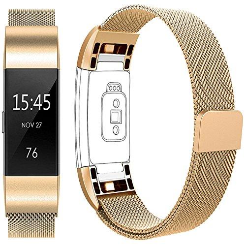 Vancle Milaneseband für Fitbit Charge 2, Fitbit Charge 2 Anpassbares Edelstahl- Metallmilanese Ersatzarmband mit Magnetverschluss (Gold, Small)