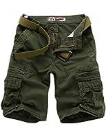 Legou Herren Shorts 5 Farbe 5 Größe Bermudas Shorts ohne Gürtel Kariert Knielang