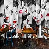 lvabc Papier peint photo personnalisé Mode lèvres belles puzzle Belle beauté maquillage murale boutique de vêtements toile de fond centre commercial papier peint-120X100CM