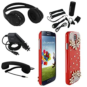 Skque® Micro USB Car Charger + Wireless Bluetooth Stereo Rechargeable Headphone Headset with Answer Button + 3.5mm Cool Retro Phone Speaker Telephone Handset + Music MP3 Player Speaker + Bling Crystal Rhinestone 3D Flower Hard Case Cover for Samsung Galaxy S4 I9500, Red