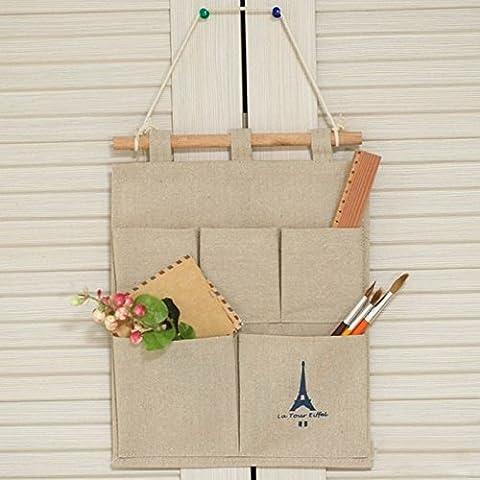 amyjazz cotone e lino parete porta armadio Hanging Storage Bag multistrato Organizer salvaspazio