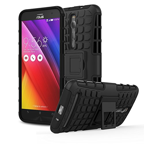 ZenFone 2 5.5 Case - MoKo [Heavy Duty] Rugged Armor with Kickstand Cover - Dual Layer Shock Resistant Case for ASUS ZenFone 2 ZE550ML / ZE551ML 2015 Release 5.5 Inch, BLACK (Not Fit Zenfone 2 Laser)