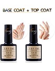 Y&S UV LED Soak Off Gel Nail Polish Top Coat and Base Coat Set - 10ml Each