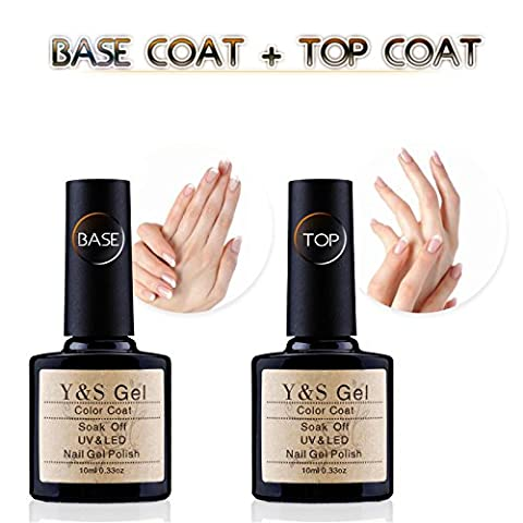 Clear Base Top Coat Set - Y&S UV/LED Soak Off Gel Nail Polish Top Coat and Base Coat Set - 10ml