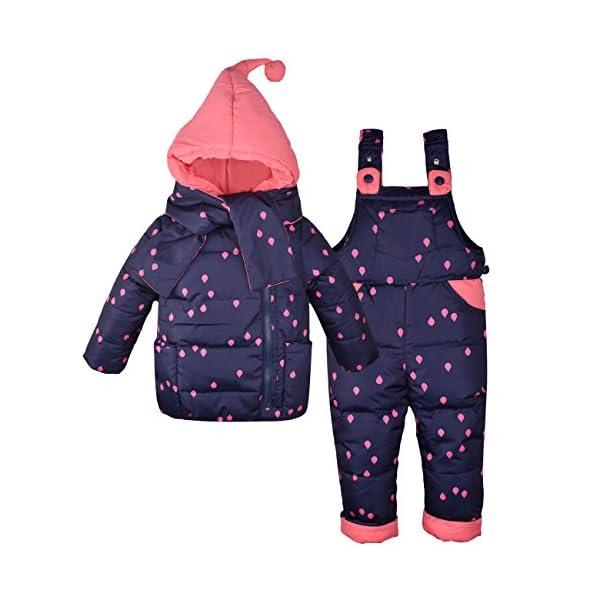 ZOEREA Chaquetas de Esquí para Bebé Niñas Traje de Nieve Abrigoscon Capucha + Pantalones + Bufanda Invierno Acolchado… 2