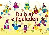 10 Einladungskarten Feier-Biest Eulen Du bist eingeladen + 2 Geburtstagskarten 1144-10+1108+1109