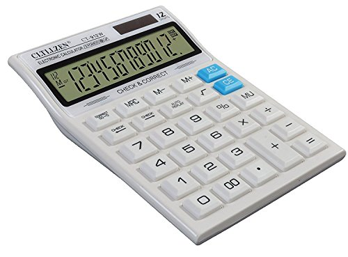 12 Digit Solar, Basic Battery Professional Office Calculator with Extra Large LCD Display, Large Size, White