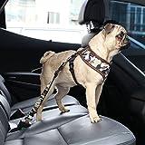 Cintura di sicurezza per cani auto Regolabile Sedile sicurezza dei veicoli Car Belt Guinzaglio del cablaggio per Pet Dog Cat tessuto di nylon (Camuffamento & Grigio)
