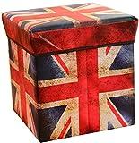 Faltbarer Sitzhocker Aufbewahrungs-Box Stoff und Pappe Faltbox Ordnungsbox Deckel Box Aufbewahrung Fußablage Stauraum (London)