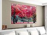 Acrylglasbilder 3 Teilig 120x100cm Bäume Landschaft Herbst rote Blätter Druck Acrylbild Acrylglas Acrylbilder Wand Bild 14E1874, Acrylgröße 8:gesamt 120x100cm