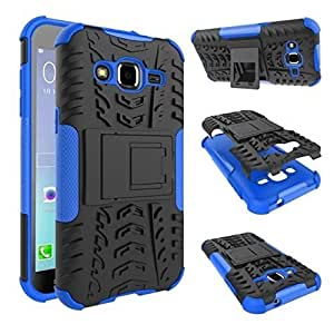 SDO™ Warrior Dual Layer Hybrid Dazzle Kickstand Case Back Cover for Samsung Galaxy J2 - Blue + 3.5 mm AUX Cable