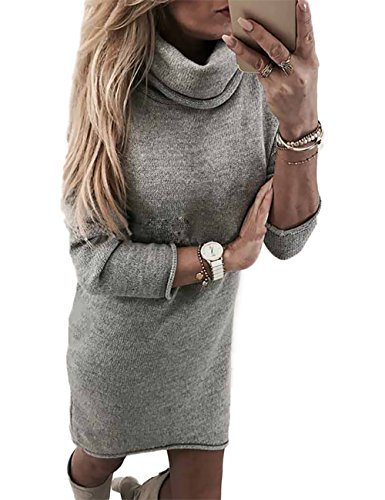Boutiquefeel Damen Hoher Kragen Slim Fit Plain Sweater Kleid Grau S (Slinky Grau)