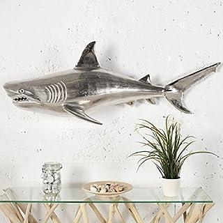 Riesige Tigerhai Wanddeko KÖNIG DER MEERE 105cm Links Aluminium spiegelpoliert - Schädel Skulptur Figur Fisch Statur - Designer Deko Accessoires von ambientica -