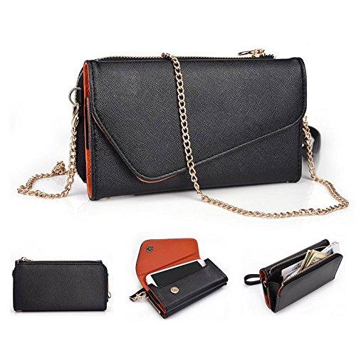 Kroo d'embrayage portefeuille avec dragonne et sangle bandoulière pour Oppo Miroir 3/Neo 5 Multicolore - Noir/rouge Multicolore - Black and Orange
