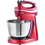 VonShef Twin 300W Hand and Stand Mixer with 5 Speeds & Turbo Function FREE Extended 2 Year Warranty includes 3.5L Bowl, 2x Beaters, 2x Dough Hooks & Whisk - Red