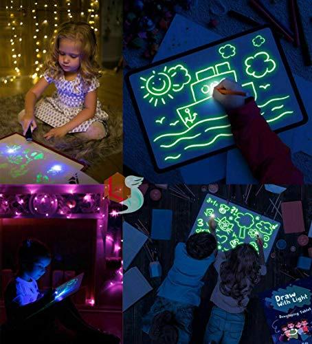 Worsworthy Pizarra Mágica Infantil , Pizarra Dibujo con Luz Real Juegos Educativos de Pintar Juego de Pintar para Niños de 2+años Que Fomenta la Creatividad