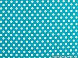ab 1m: Baumwollstoff mit Punkten, 0,8cm, türkis-blau, ca.