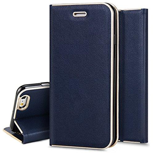 2 in 1 PU pelle Custodia Flip Cover per iPhone 6S 4.7, Ukayfe Luxury Puro Colore Glitter Modello Goffratura Fiore Cristallo 3D Design Bumper Slim Folio Protectiva Lussuosa Custodia Cover per iPhone 6 Blu #
